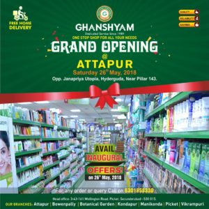 Ghanshyam Super Market Now At Hyderguda, Attapur