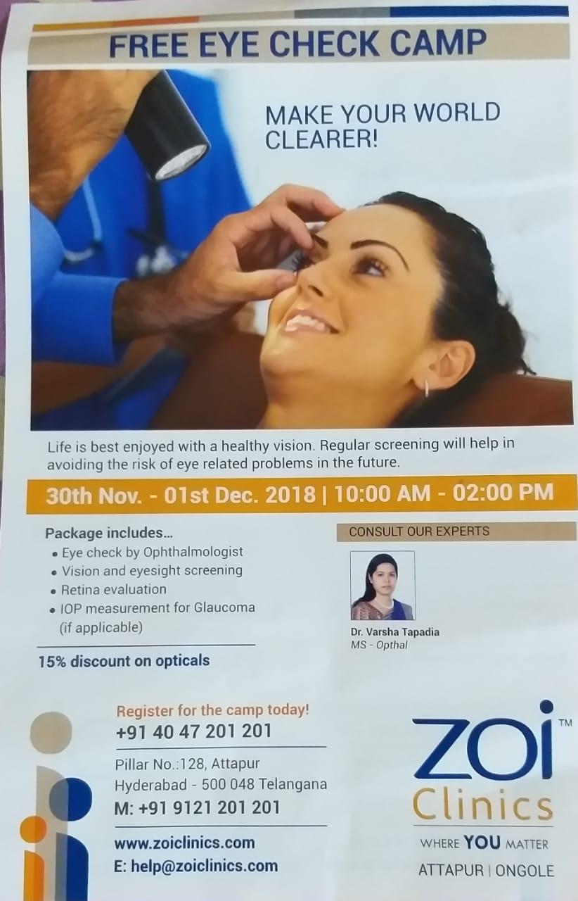 b2d9a6cd81f Free EYE Check Camp At Zoi Clinics